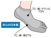 CSS-5050 スニーカー用超抗菌 5本指銅入り靴下